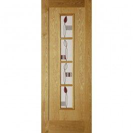 Internal Oak Veneer Mackintosh Inspired 4 Light Glazed Door