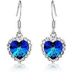 idKdo – Boucles d'oreilles titanic » Coeur de l'océan» Cristal irisé Couleur Bleu marine – Femme – Collection «Fête des mères»