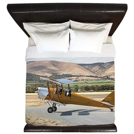 Tiger Moth aircraft taxiing King Duvet on CafePress.com