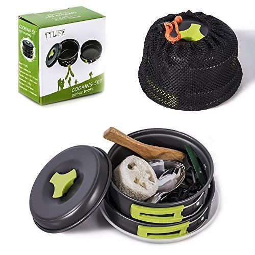 TTLIFE Camping Cookware Mess Kit Backpacking Gear Hiking Outdoors Bug Out Bag Cooking Equipment 12 Pieces Cookset Lightweight Compact Durable Pot Pan Bowls Free Folding Spork Nylon BagFeatures: Worry...