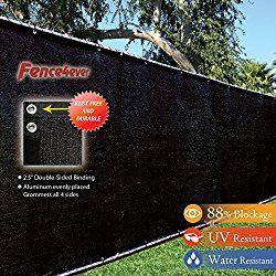 Fence4ever 4′ x 50′ 3rd Gen Black Fence Privacy Screen Windscreen Shade Fabric Mesh Tarp (Aluminum Grommets)