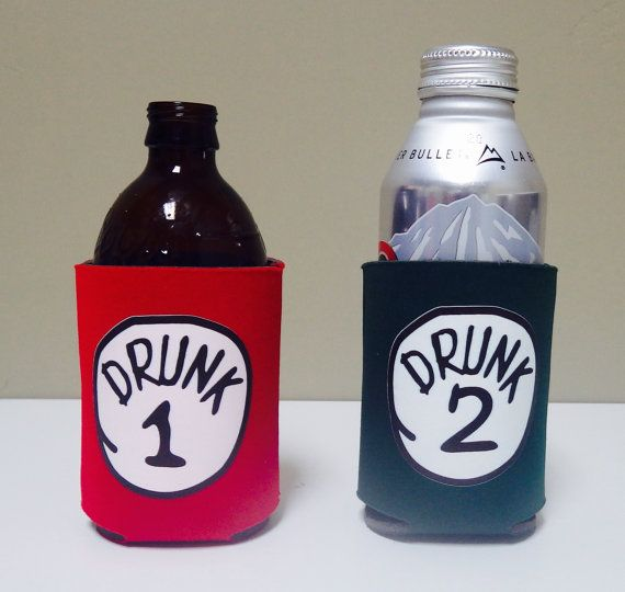 Drunk 1 & 2 Combo Beer Koozie Pack by KoozieFun on Etsy