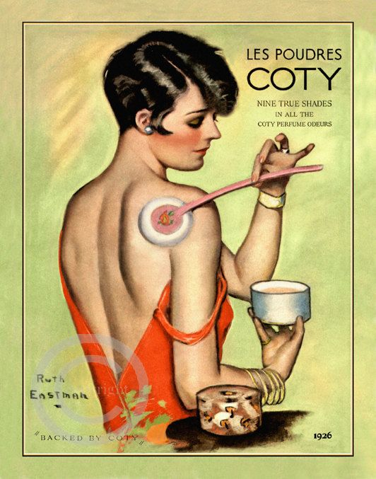 Art Deco Boudoir Flapper Print, Ruth Eastman,  Putting Cody Powder on her Back,  Cosmetics, Perfume ad, 1926, Giclee Fine Art Print,  11x14