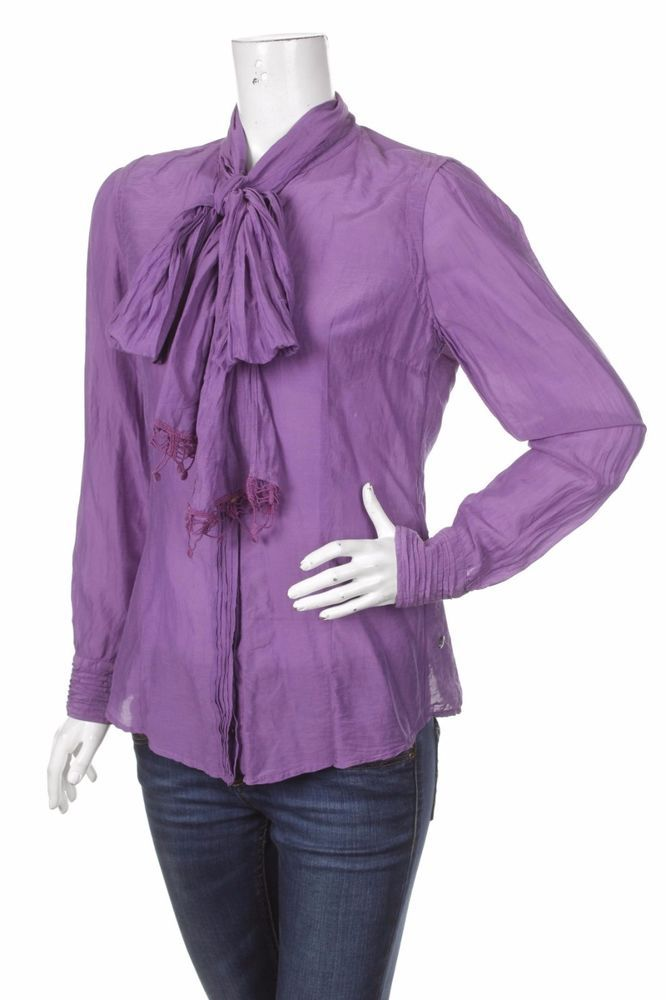 NWT Hugo Boss Orange Women Purple Shirt Jabot Silk Blouse Tops Size: M / D 38 #HUGOBOSS #Elegant