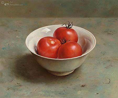 '' Kom tomaten ''26.0 x 32.0 cm - Olieverf op paneel - 2002 by Marius van Dokkum