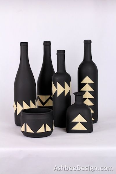 Bouteilles : Upcycled Painted Wine Bottles combined with bamboo veneer. Tutotial