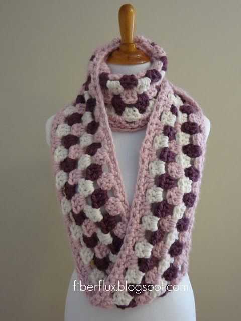 Free Crochet Pattern...Cherries In Bloom Infinity Scarf...this looks like it would work up quickly, I love this design!