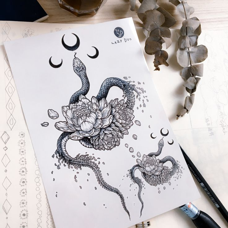 Snake tattoo Floral Snake Temporary tattoo Peony Flower tattoos Moon tattoo Moon tattoo Sticker Realistic Tattoos Men Gifts Him Gift for Her