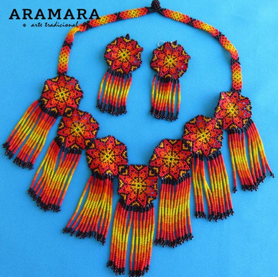 Collar mexicana Huichol collar y pendientes conjunto JGO-0034