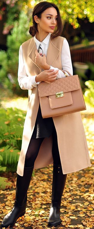 Intrigue Me Now Nude Sleeveless Coat Fall Street Style Inspo