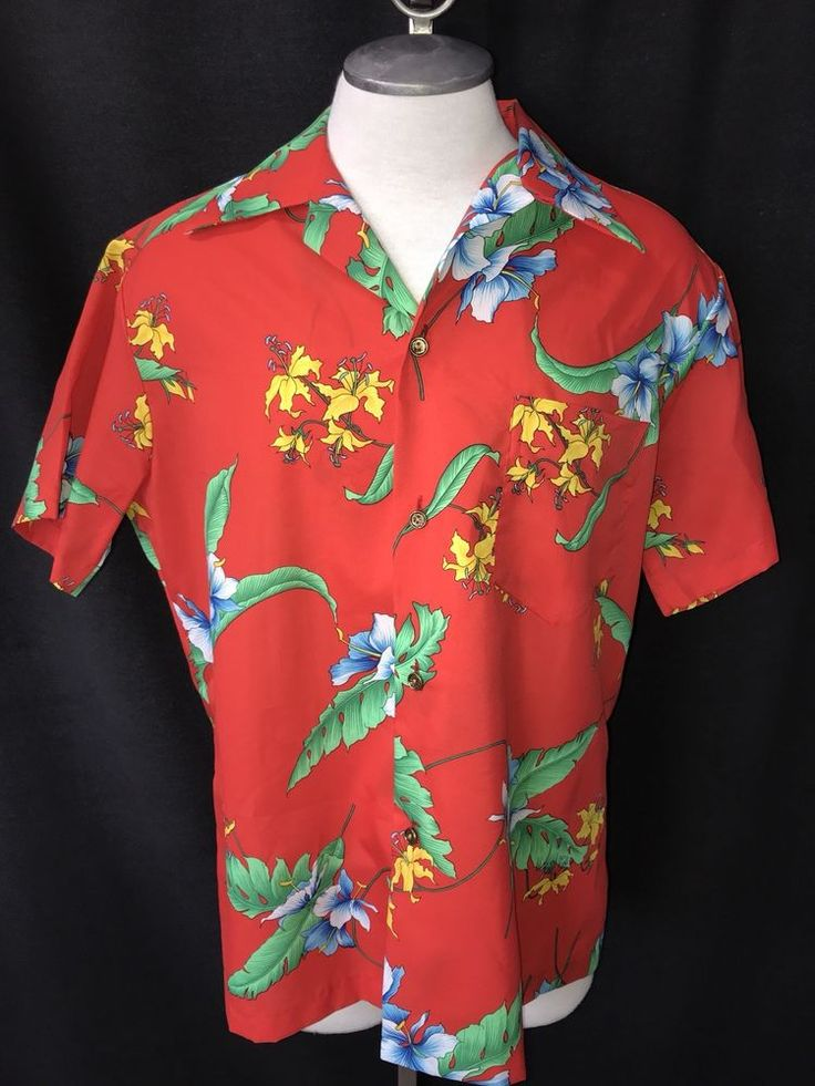 Royal Hawaiian Made and Styled in Hawaii Red Floral Aloha Shirt L Large  Hibuscus