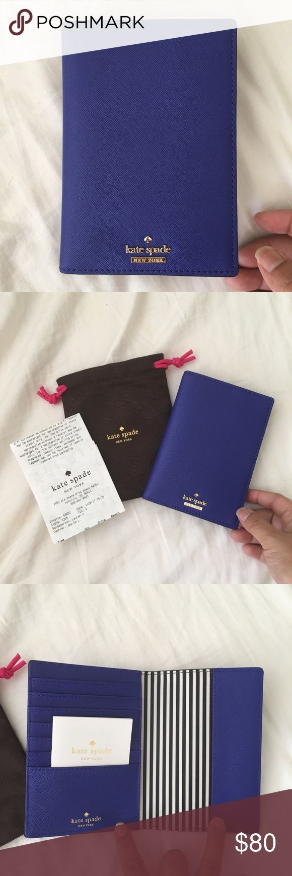 Authentic Kate Spade New York Passport card holder Authentic Kate Spade New York Passport card holder. Hold 7 cards and a passport. Brand new with tags. Decided to keep the red and sell the blue. Purchased a few weeks ago from Ala Moana Kate Spade. No trades kate spade Bags Wallets