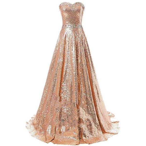 Women's Sparkly Sequins Strapless Ball Gown A-line Long Bridesmaid... ($83) ❤ liked on Polyvore featuring dresses, gowns, long evening dresses, sequin prom dresses, bridesmaid dresses, long dresses and long evening gowns