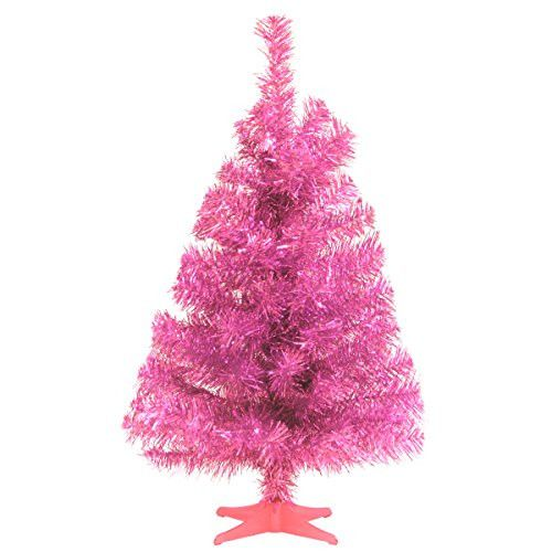 Santa's Little Helper Collection 2' Pink Tinsel Tree with Plastic Stand