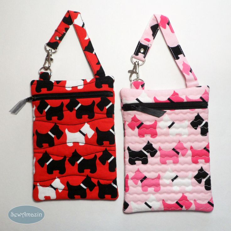 Scottish Terrier Quilted Gadget Case, Cell Phone Pouch, your choice of Pink or Red Scottie Dogs:  Adorable Scottie dogs in black and white march across either a light pink or red background on this padded gadget case. It can be used to carry your slim digital camera, iPhone, Android or other small tech device. Use it to hold a pack of tissues, wet wipes or other personal items you don't want rolling around in your bag. #bmecountdown