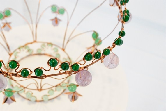 "detail from ""Where Adam met Eve""  Wirework crown of copper, jade and amethyst #crown #wirework"
