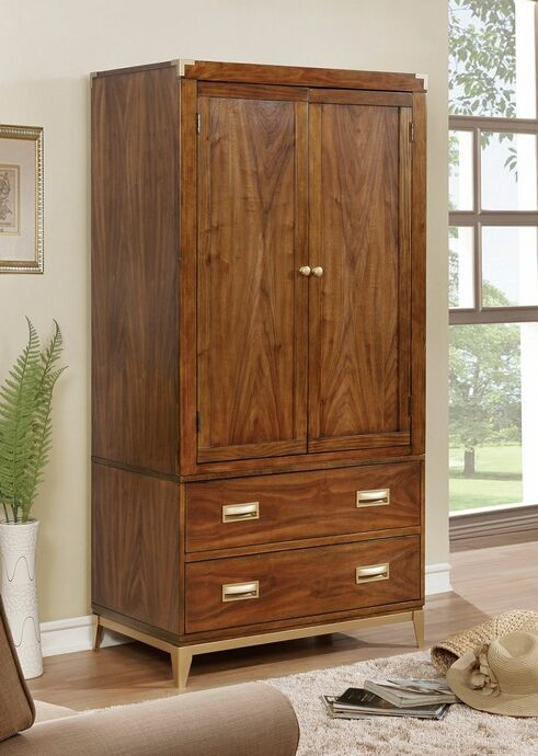 """Daphne collection dark oak finish wood clothing armoire stand alone closet cabinet.  Measures 36"""" x 22"""" x 73"""" H.  Features upper clothes cabinet and two lower drawers.  Some assembly required."""