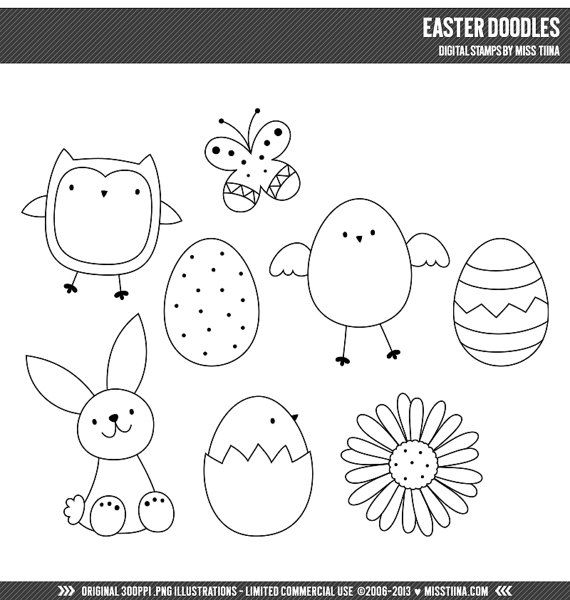 Easter Doodles Digital Stamps Clipart