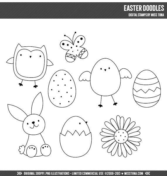 Ostern Doodles digitale Briefmarken Clipart ClipArt von MissTiina