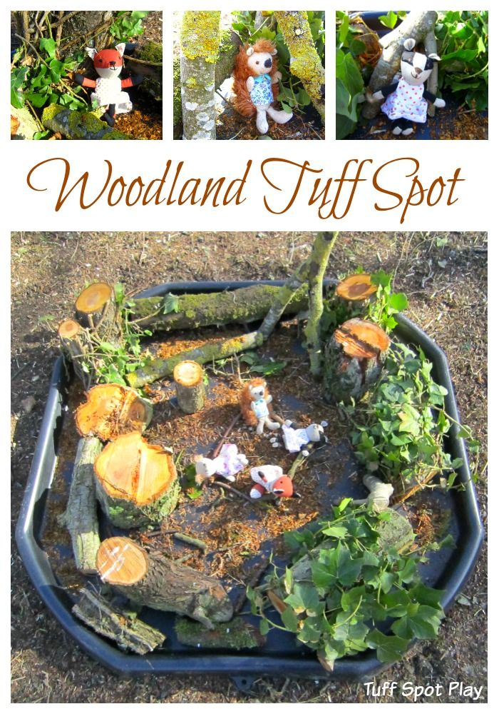 Woodland Tuff Spot. Create a small world using natural materials for woodland creatures to live in.