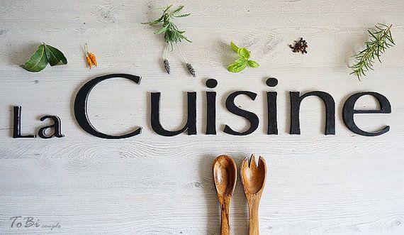 Parete decorazione, segno di La cucina, arredamento cucina francese, lettere di legno - arredamento casa