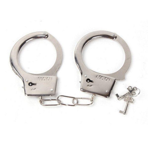 1 pair Creative Handcuffs Steel Police Duty Double Lock Keys