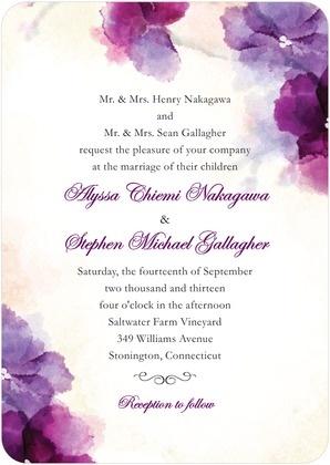 Wedding Paper Divas | Signature White Textured Wedding Invitations Soft Bougainvillea - Front : Majestic