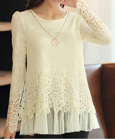 Stylish Round Neck Long Sleeve Spliced Solid Color Women's Blouse