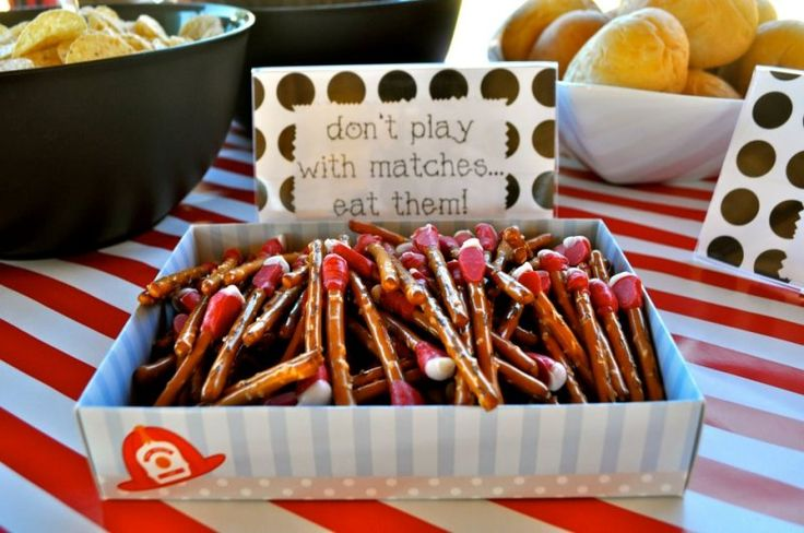 """Love the """"matches"""" of this firetruck party"""