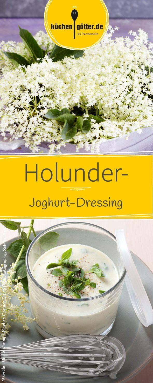 Im Sommer passt das Dressing aus Joghurt und Holunder perfekt zu Blattsalaten und gebratenem Fisch oder Garnelen.