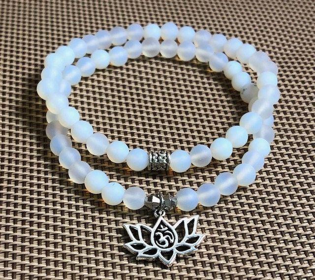 Opalite Matte Bracelet Blue Gemstone Healing Crystal Bracelet Lotus Bracelet Baby Blue Bracelet Lotus Flower Charm Bracelet Set