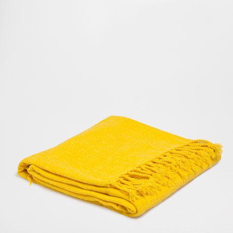 Gele Chenille Deken - Dekens - Slaapkamer | Zara Home België