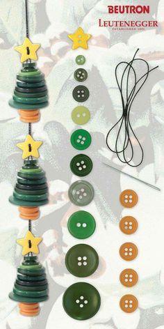 Pequenos pinheiros feitos de botões para a árvore de Natal ou como uma guirlanda.   – Christbaumschmuck DIY