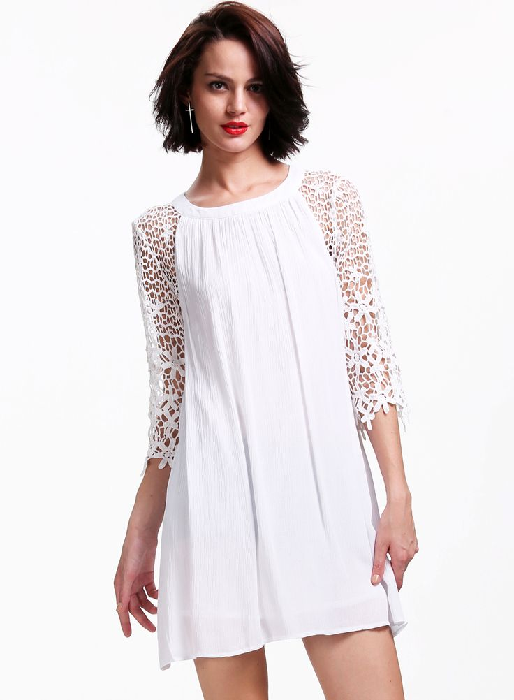 White Floral Crochet Hollow Half Sleeve Loose Dress - Sheinside.com