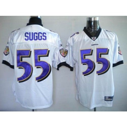 Reebok Baltimore Ravens #55 Terrell Suggs White Stitched NFL Jersey
