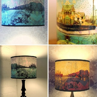 Lamp shade landscape pattern print home decoration ideas