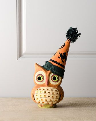 something about these retro looking Halloween items...Owl With Hat Halloween Figure by Bethany Lowe at Horchow.