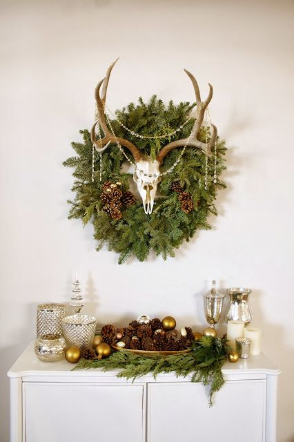 72 best images about deer antlers on pinterest wall for Antler christmas wreath