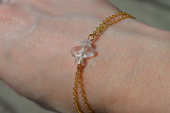Clear Quartz Bracelet Dainty Gold Chain Bracelet Birthstone Jewelry 3 Stone…