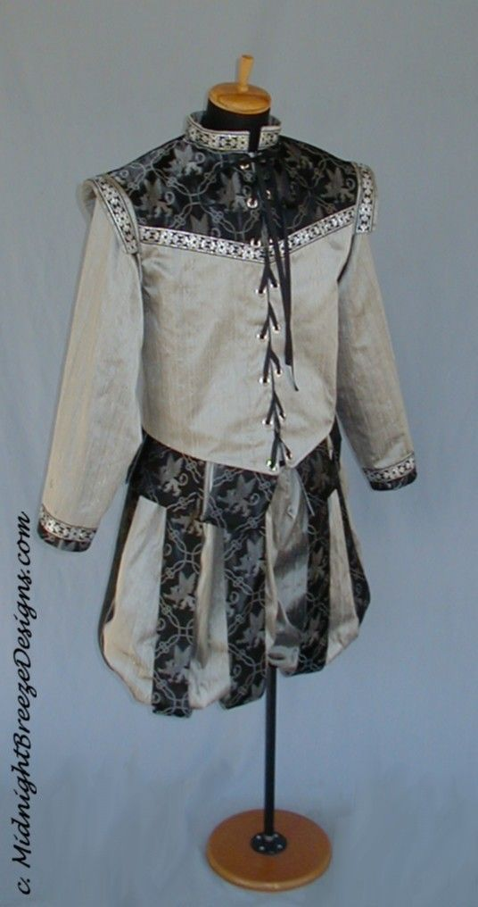 MADE TO ORDER Men's Silk Renaissance Court Costume - Doublet, Slops. $220.00, via Etsy.