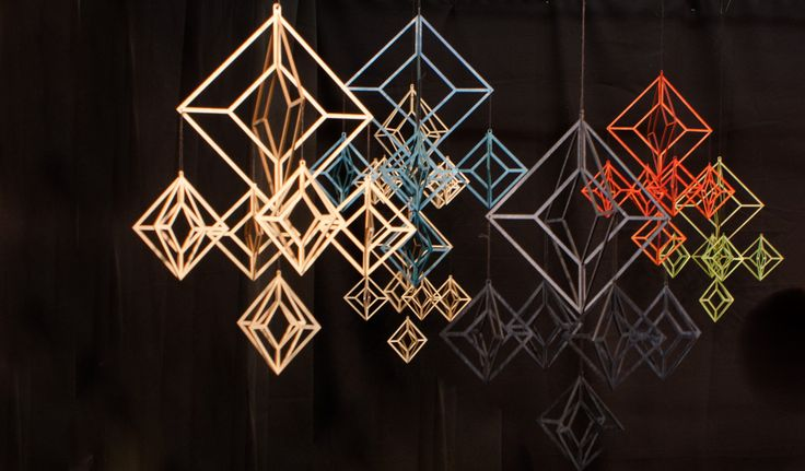 Modern Himmeli decorations by Elina Mäntylä, Valona design. The material is Finnish birch plywood. They are laser cut and made in Finland. www.valona.fi