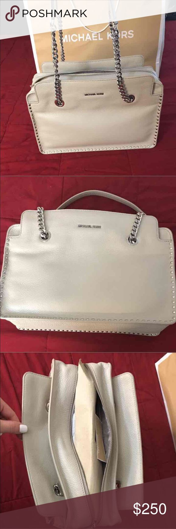 NWT MICHAEL KORS LG CEMENT SATCHEL Gorgeous Brand New off white/ light grey large leather satchel with chrome studs and chain straps. Still has tags. Original price $368. Has multiple pockets. This bag is stunning. Open to offers! Michael Kors Bags Satchels