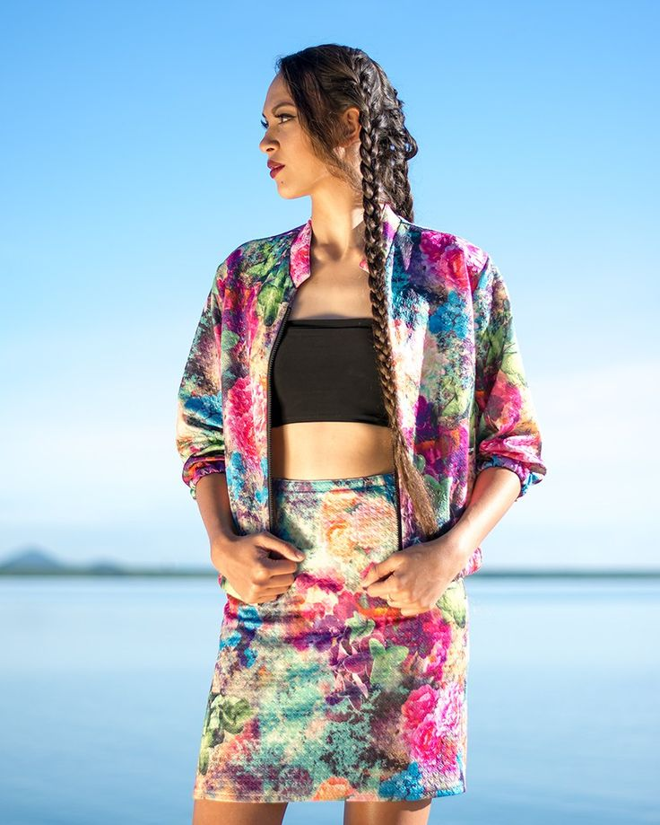 Bomber Jacket with Three Quarter Sleeves in Flower Power