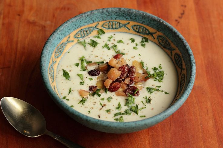 cauliflower soup with gorgonzola & pickled pear relish. nudge, nudge ...