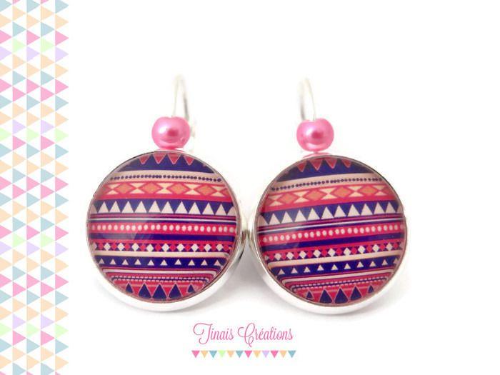Boucles d'oreilles cabochon - Aztèque bleu et rose - argenté perles : Boucles d'oreille par tinais-creations
