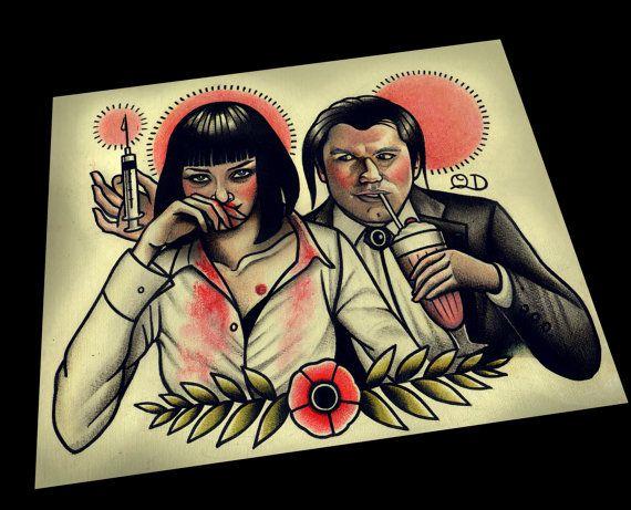Pulp Fiction Art Print by ParlorTattooPrints on Etsy