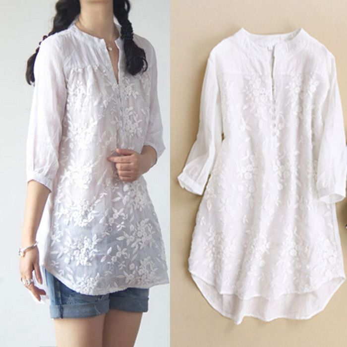New women blouses Organza embroidery o-neck medium-long silk cotton linen white shirt female