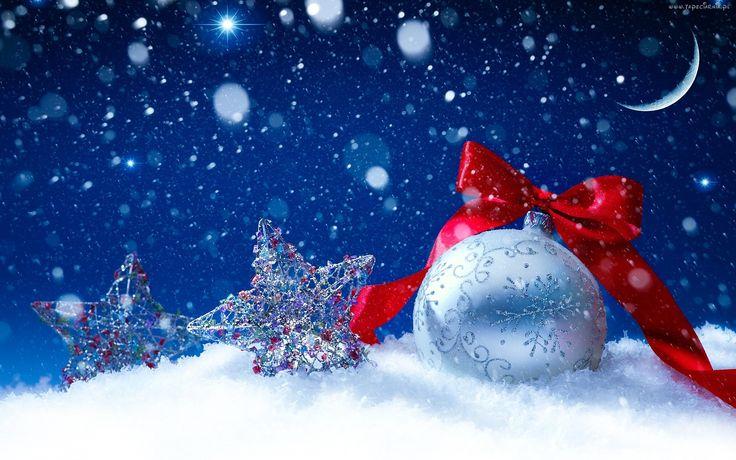 Bombka, Noc, Śnieg, Święta