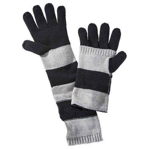 Fold Down Block Stripe Gloves - Black/Gray