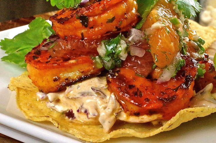 Grilled Shrimp Tostadas with Citrus Salsa